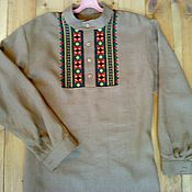 Русский стиль ручной работы. Ярмарка Мастеров - ручная работа Мужская рубаха из льна с вышивкой крестиком. Handmade.