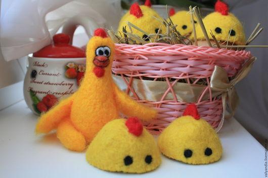 """Подарки на Пасху ручной работы. Ярмарка Мастеров - ручная работа. Купить Пасхальный набор """"Курочка Ряба"""". Handmade. Желтый, цыплята"""