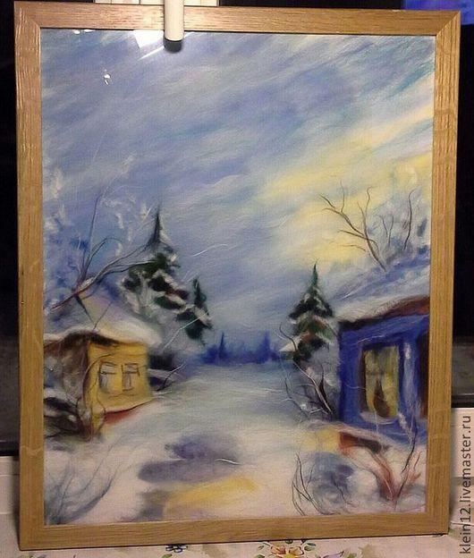 """Пейзаж ручной работы. Ярмарка Мастеров - ручная работа. Купить """"Зима... """" Шерстяная акварель. Handmade. Голубой, желто-голубой"""
