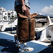 Мужской рюкзак ручной работы. Ярмарка Мастеров - ручная работа Кожаный мужской рюкзак ROLLTOP (коричневый) итальянская кожа. Handmade.