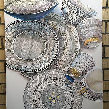 Картины и панно ручной работы. Ярмарка Мастеров - ручная работа Тонкий рисунок посуды 70х90 см. Handmade.