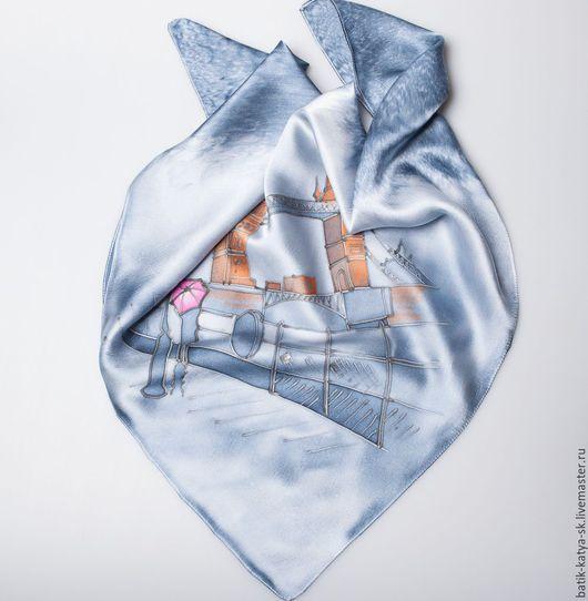 """Шали, палантины ручной работы. Ярмарка Мастеров - ручная работа. Купить Батик шелковый платок """"Путешествие. Туманный Альбион"""""""""""". Handmade."""
