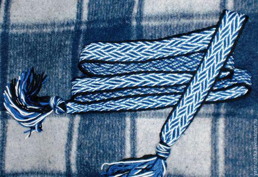 Пояса, ремни ручной работы. Ярмарка Мастеров - ручная работа. Купить Пояс тканый на дощечках. Handmade. Тёмно-синий