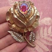 Винтажная редкая брошь-часы Роза Coro