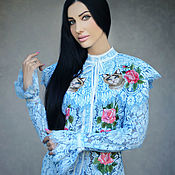 Одежда handmade. Livemaster - original item Guipure blouse with embroidery