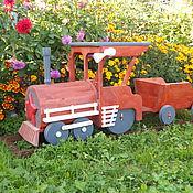 Для дома и интерьера ручной работы. Ярмарка Мастеров - ручная работа Паровоз деревянный - украшение сада, дачи. Handmade.