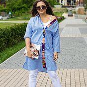 Одежда handmade. Livemaster - original item Author`s Dress shirt cotton blue checkered. Handmade.