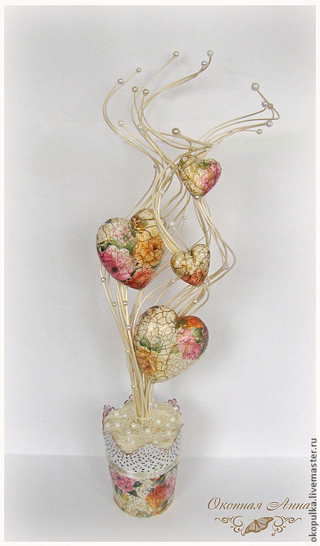 Интерьерные композиции ручной работы. Ярмарка Мастеров - ручная работа. Купить Винтажные сердца. Handmade. Кремовый, винтаж, сердечки, кашпо