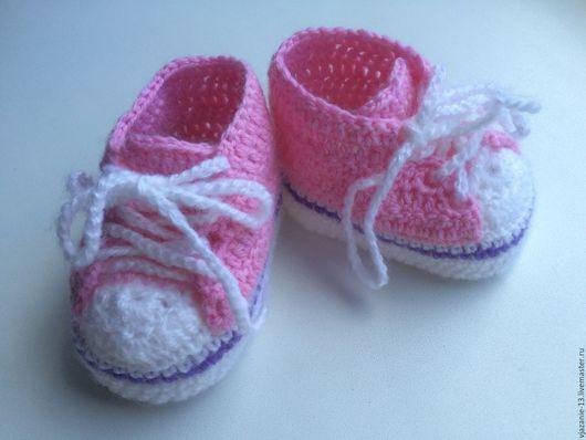 Детская обувь ручной работы. Ярмарка Мастеров - ручная работа. Купить Пинетки. Handmade. Бледно-розовый, орнамент, пинетки для новорожденных