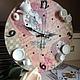 """Часы для дома ручной работы. Ярмарка Мастеров - ручная работа. Купить Часы """"Безумное чаепитие"""". Handmade. Часы настенные, розовый"""