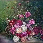 Картины и панно ручной работы. Ярмарка Мастеров - ручная работа Корзина с розами. Handmade.