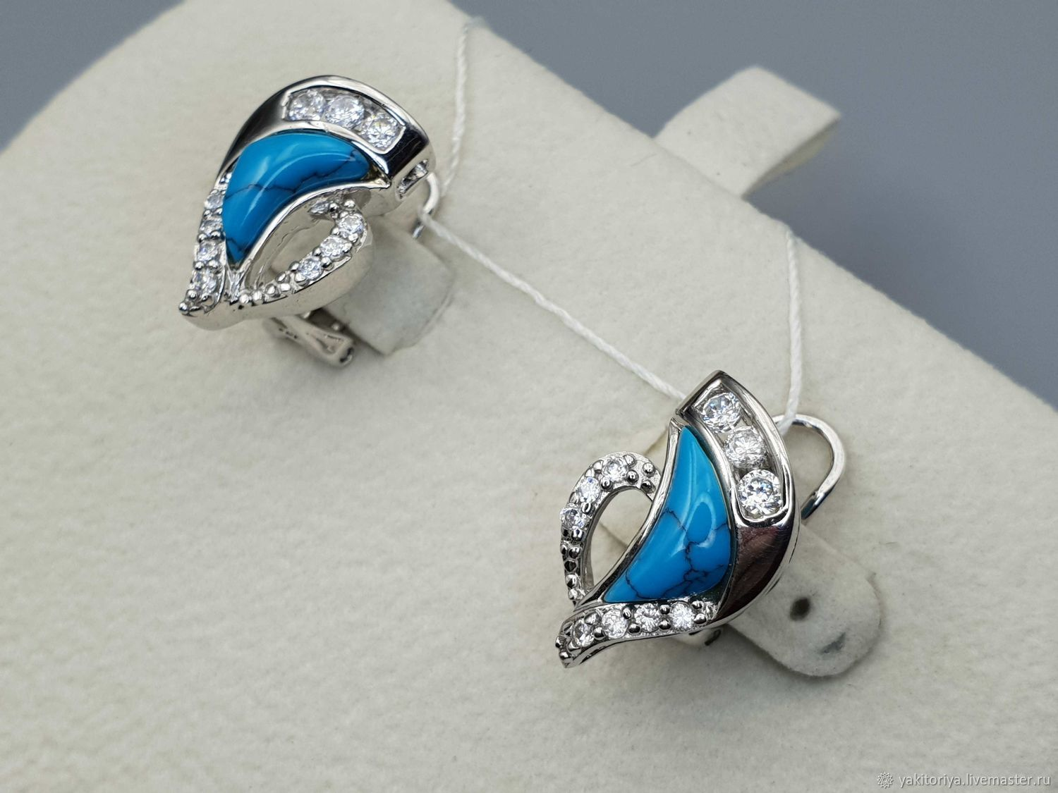 Silver earrings with turquoise 11h7 mm and cubic zirconia, Earrings, Moscow,  Фото №1