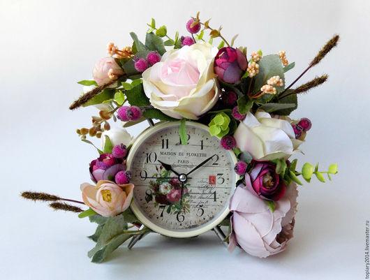 """Интерьерные композиции ручной работы. Ярмарка Мастеров - ручная работа. Купить Часы-будильник """"Летний день"""". Handmade. Комбинированный"""
