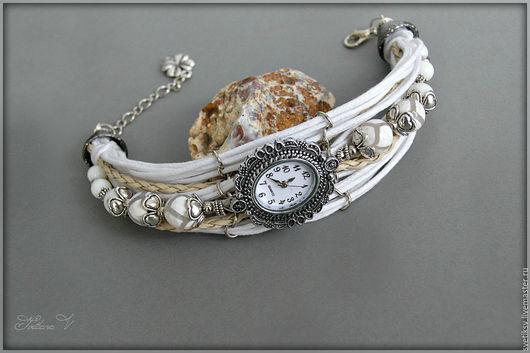 """Часы ручной работы. Ярмарка Мастеров - ручная работа. Купить Часы """"Белоснежные"""". Handmade. Белый, агат, кварцевые часы"""