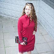 Одежда ручной работы. Ярмарка Мастеров - ручная работа Новинка для осени - Платье с бантом и кружевом - цвет марсала. Handmade.