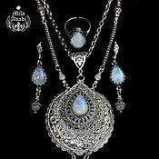 Украшения handmade. Livemaster - original item Set: pendant, ring, earrings, moonstone (adult), handmade. Handmade.