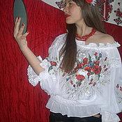 """Одежда ручной работы. Ярмарка Мастеров - ручная работа вышиванка""""МАКОВАЯ РОССЫПЬ""""ручная вышитая блуза. Handmade."""