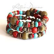 Украшения handmade. Livemaster - original item Bracelet coral, turquoise and coconut tropical Africa in boho bracelet. Handmade.