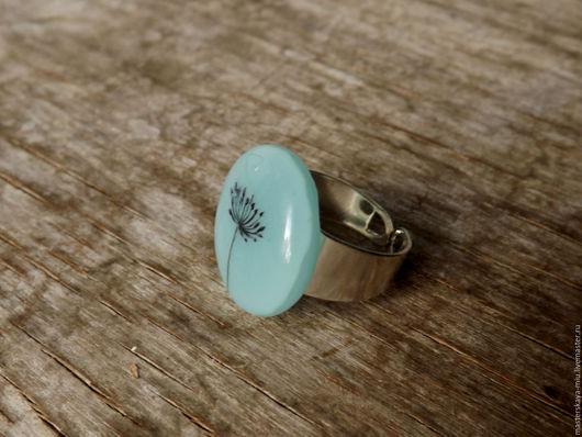 """Кольца ручной работы. Ярмарка Мастеров - ручная работа. Купить кольцо """"Укроп и небо"""". Handmade. Голубой, лето, легкий, стекло"""