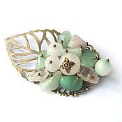 Украшения handmade. Livemaster - original item Brooch with rose quartz, jade and aquamarine. Handmade.