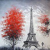 Картины и панно ручной работы. Ярмарка Мастеров - ручная работа Париж. Вид на Эйфелеву башню. Красно-черная верси. Handmade.