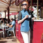 Одежда ручной работы. Ярмарка Мастеров - ручная работа Жилет нежно-голубой с горчичным подкладом. Handmade.