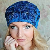 "Аксессуары ручной работы. Ярмарка Мастеров - ручная работа Авторская валяная шапка """"Royal blue. Handmade."