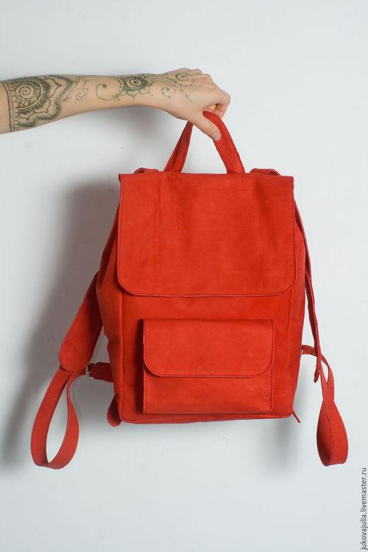 Рюкзаки ручной работы. Ярмарка Мастеров - ручная работа. Купить Рюкзак кожаный из натуральной кожи красный, ярко алый, ягодный 24.18. Handmade.