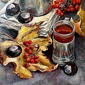 Картины и панно ручной работы. Ярмарка Мастеров - ручная работа Картина маслом Осень. Чай с рябиной. Handmade.