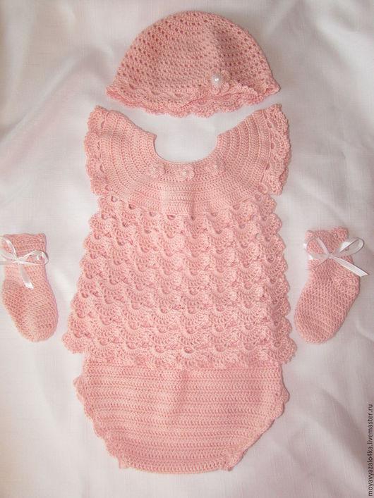 Одежда ручной работы. Ярмарка Мастеров - ручная работа. Купить Комплект для девочки 3-6 месяцев. Handmade. Розовый, подарок