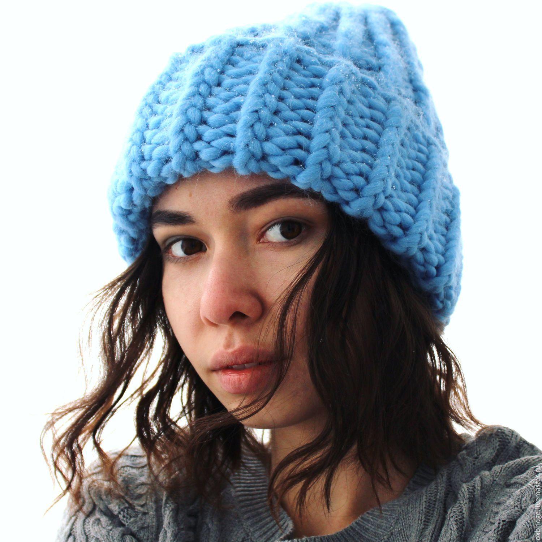 Модная объемная вязаная шапка голубого цвета из перуанской ...