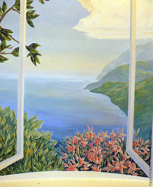 Пейзаж ручной работы. Ярмарка Мастеров - ручная работа. Купить роспись стены Окно в Лето. Handmade. Лето, цветы