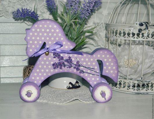 """Игрушки животные, ручной работы. Ярмарка Мастеров - ручная работа. Купить лошадка на колесиках - """"Лаванда"""". Handmade. Лошадка, лаванда декупаж"""