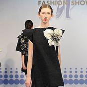 Одежда ручной работы. Ярмарка Мастеров - ручная работа Дизайнерское платье черное, валяное, с большим цветком. Handmade.