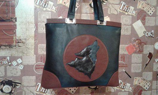 Женские сумки ручной работы. Ярмарка Мастеров - ручная работа. Купить Волк. Handmade. Тёмно-синий, натуральная кожа