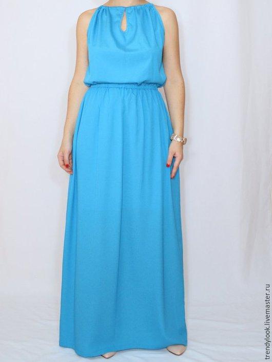 Платья ручной работы. Ярмарка Мастеров - ручная работа. Купить Голубое платье из шифона, длинное летнее платье,. Handmade. платье