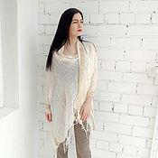 Аксессуары handmade. Livemaster - original item Linen scarf stole with a knitted cotton border. Handmade.