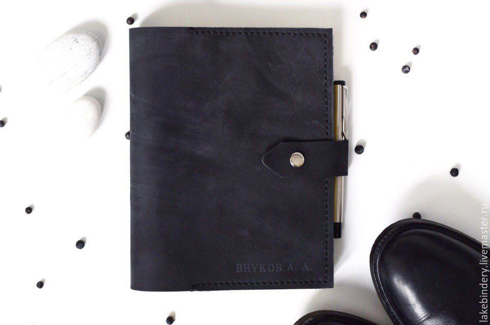 Mens leather notebook on the rings pockets hand-sewn seam, Notebooks, Moscow,  Фото №1