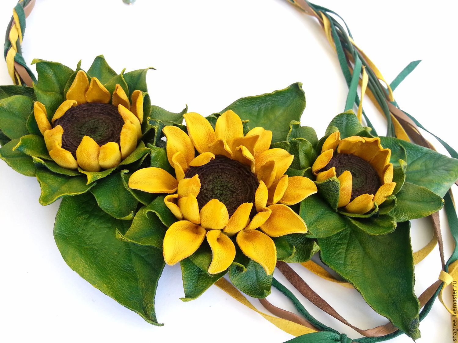Necklace leather Sunflowers, Necklace, Moscow,  Фото №1