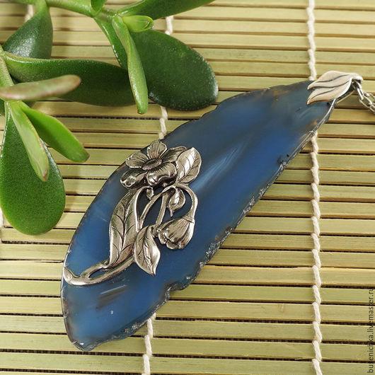 Кулоны, подвески ручной работы. Ярмарка Мастеров - ручная работа. Купить Подвеска Лунный цветок (синий срез агата, крупный). Handmade.