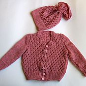 Работы для детей, handmade. Livemaster - original item Children`s knitted suit (jacket and cap ) for a little girls Pink dream. Handmade.