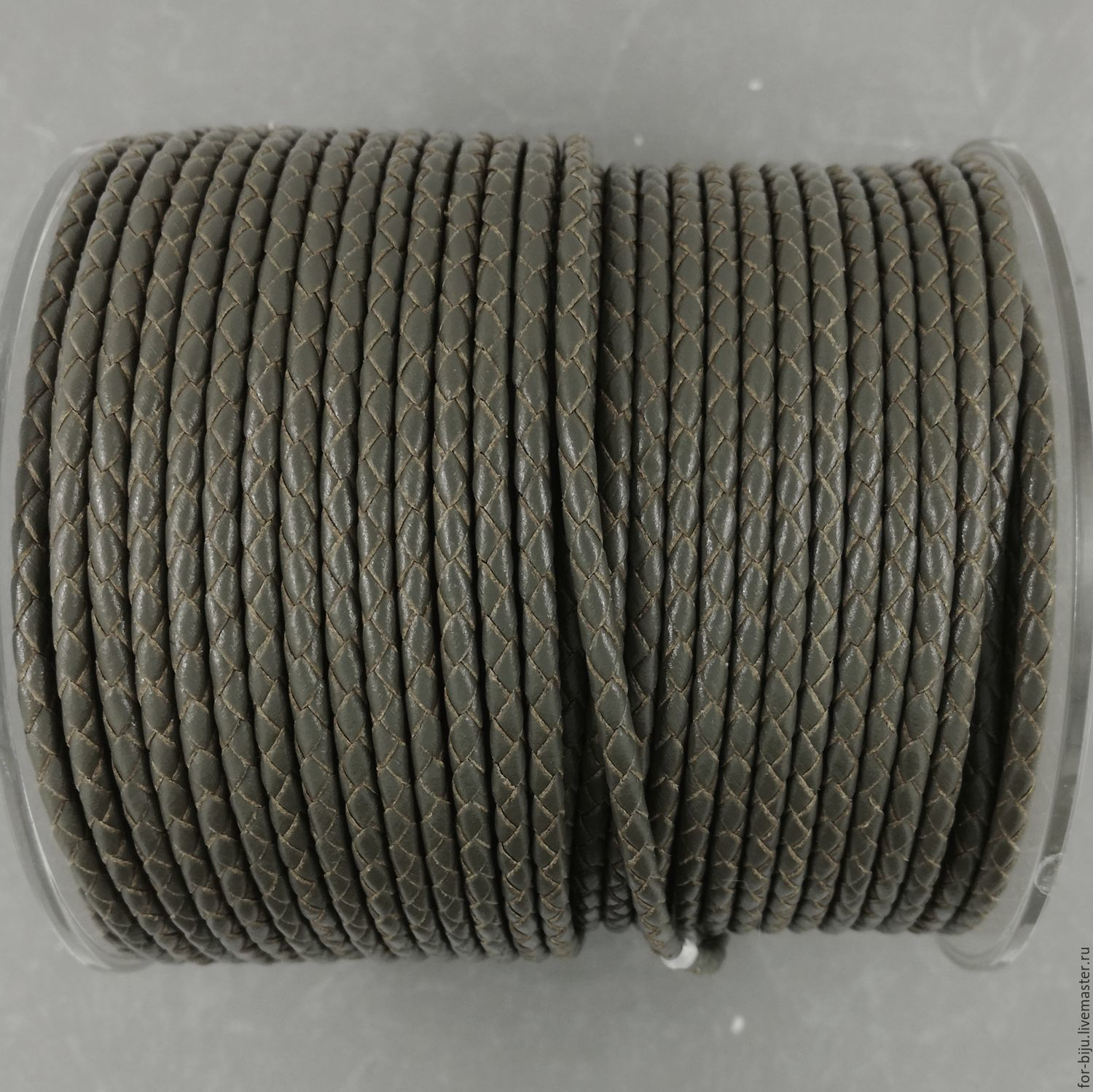 Cord leather braided, color GRAY, thickness 3 mm, leather, natural (art. 2810)