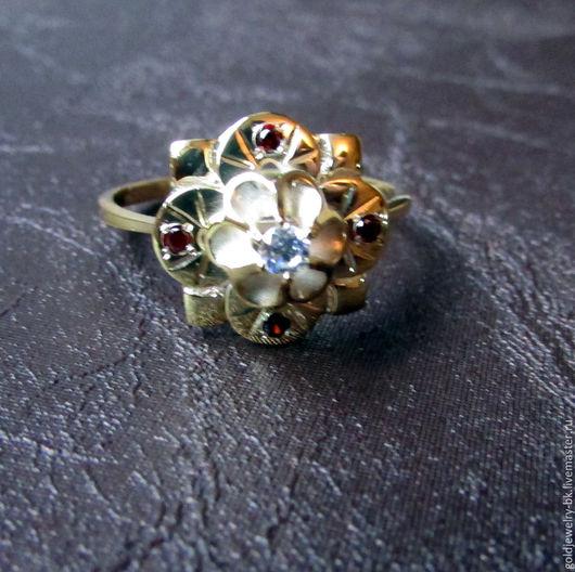 Кольца ручной работы. Ярмарка Мастеров - ручная работа. Купить Серебряное кольцо 925 пробы в позолоте 18K Цветок Любви. Handmade.