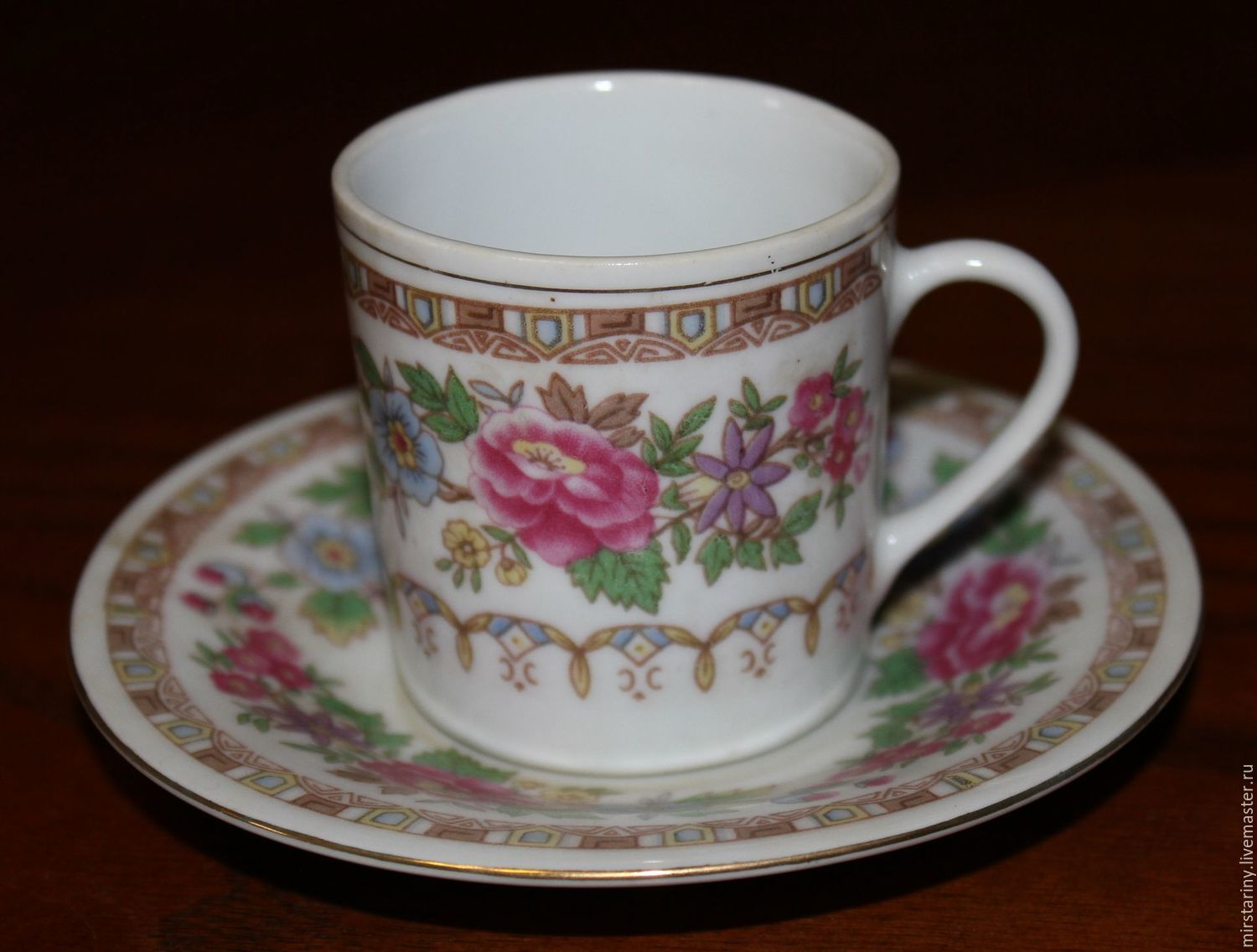 Vintage coffee steam expresso coffee with flowers, China, 1970, Vintage mugs, Moscow,  Фото №1