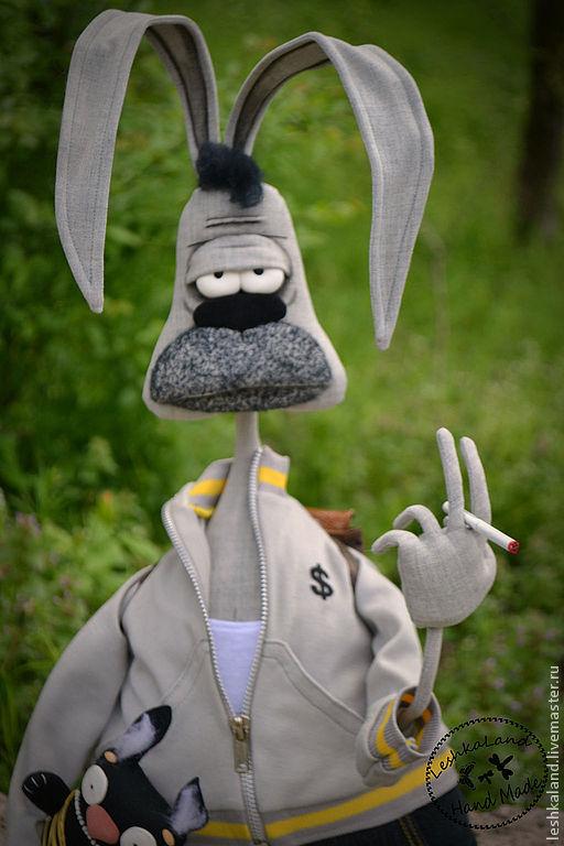 Коллекционные куклы ручной работы. Ярмарка Мастеров - ручная работа. Купить Майский кроль Роджер. Handmade. Серый, суровый, синтепон