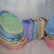 Для дома и интерьера ручной работы. Ярмарка Мастеров - ручная работа Разноцветные плетеные корзины. Handmade.