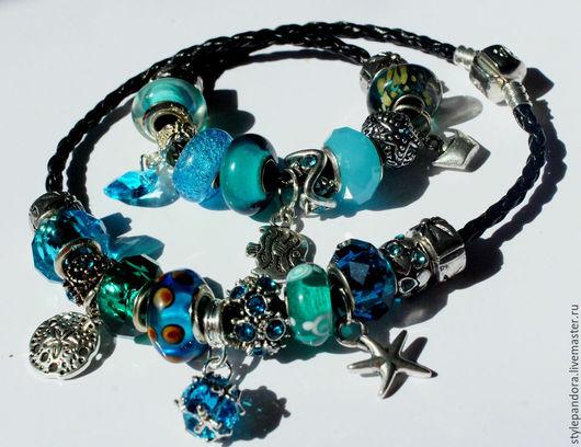 `Тайны океана` Браслет на двойном ремешке  Любые шармы с браслета можно приобрести в нашем магазине поштучно и создать свой собственный браслет