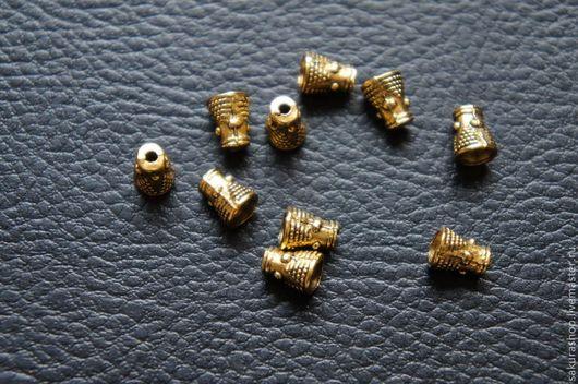 """Для украшений ручной работы. Ярмарка Мастеров - ручная работа. Купить Спейсер конус """"индия"""" золото 8х5 мм. Handmade."""