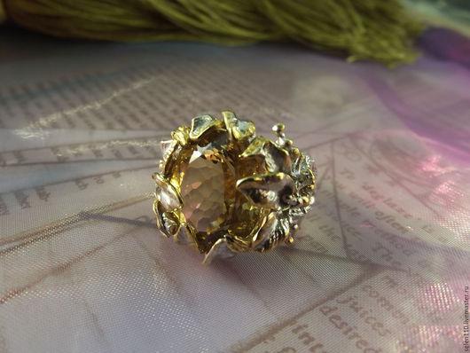 """Кольца ручной работы. Ярмарка Мастеров - ручная работа. Купить Кольцо """"Эдельвейс"""" с натуральным цитрином.. Handmade. Желтый, кольцо в подарок"""