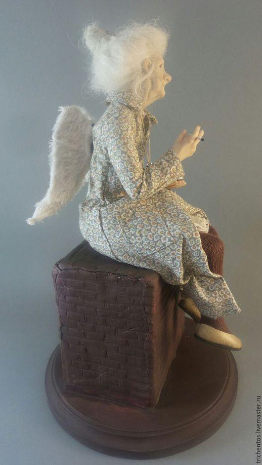 Коллекционные куклы ручной работы. Ярмарка Мастеров - ручная работа. Купить Ангел на дымоходе. Handmade. Белый, кукла с сигаретой, ЛивингДолл
